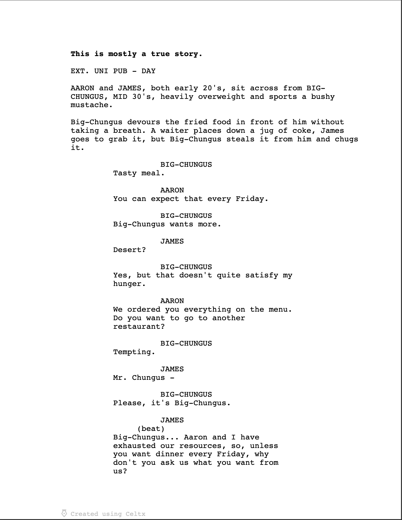 Big-Chungus Screenplay